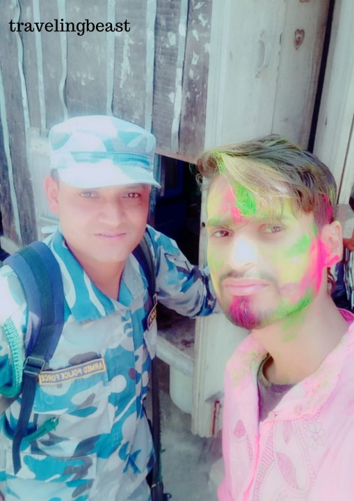 Playing holi with Nepali Army